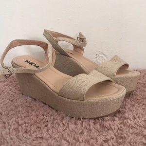 Soda Beige 'Linen' Wedge Sandals